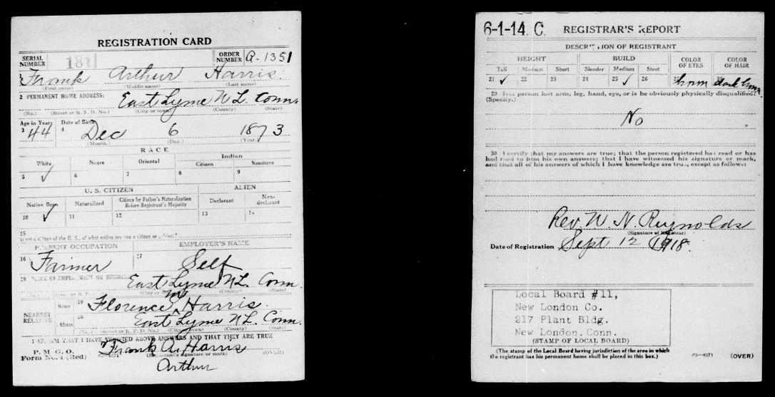 Frank Arthur Harris.Draft Registration